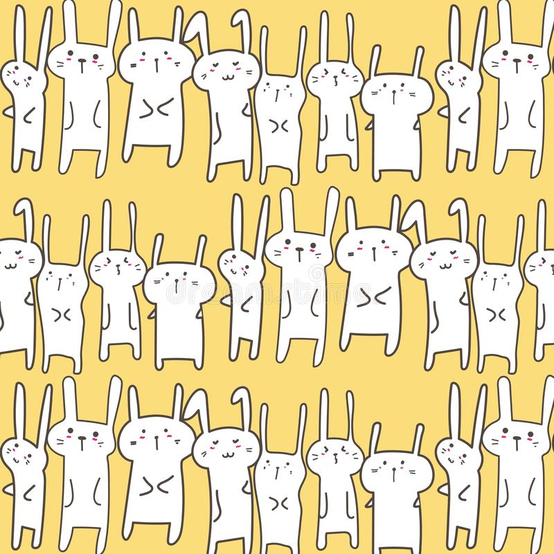 Bunny Vector Pattern Background mignon Griffonnage drôle illustration stock