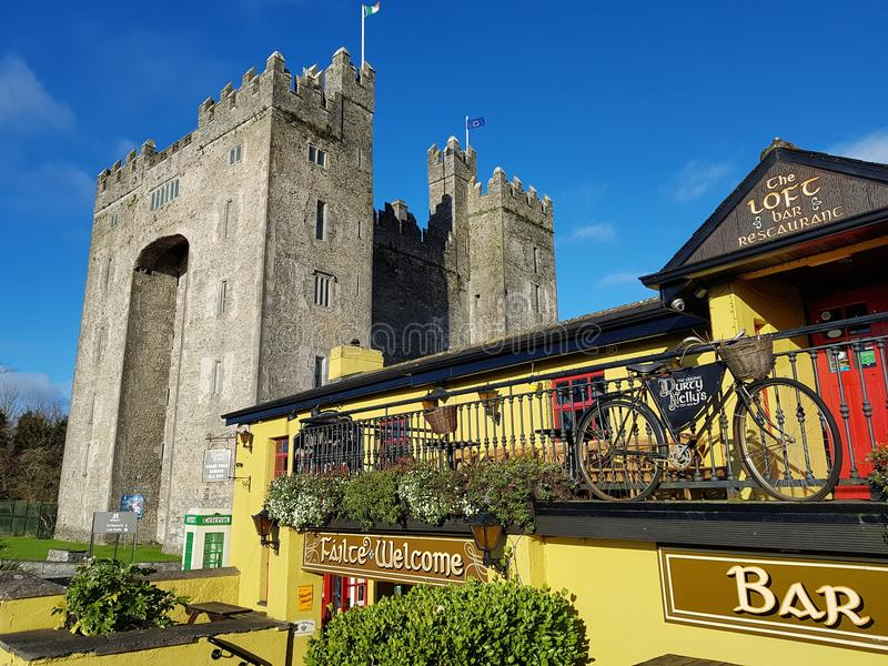 Ireland - Nov 30th 2017: Beautiful view of Ireland`s most famous Castle and Irish Pub in County Clare. stock photography