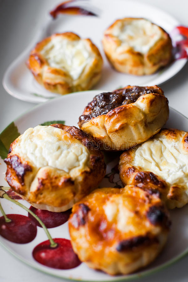 Buns with cottage cheese stock images