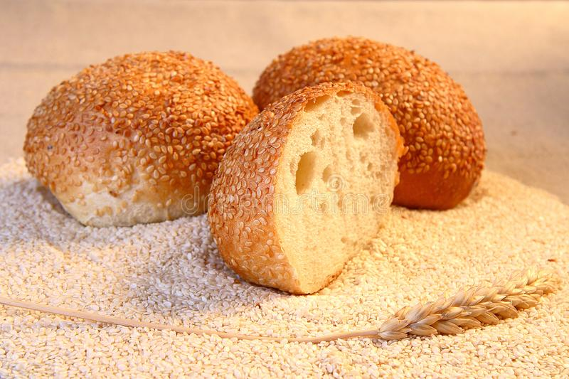 Buns with sesame seeds. stock images