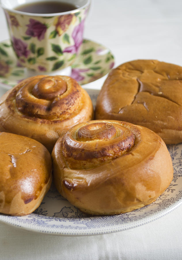 Download Buns and tea stock image. Image of plate, light, delicious - 24334649