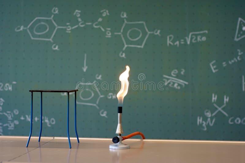 Bunsen gasbrännare i en labb royaltyfria bilder