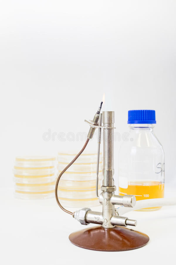 Bunsenbrenner mit Petrischalen und einer Flasche lizenzfreies stockfoto