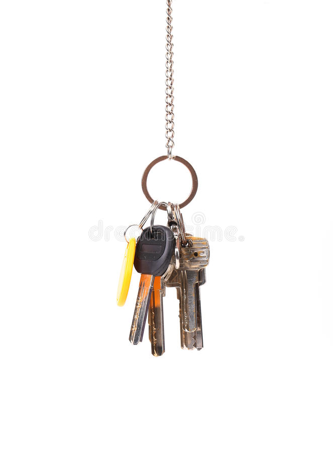 Bunsh Of Keys Hanging On A Chain. Royalty Free Stock Image