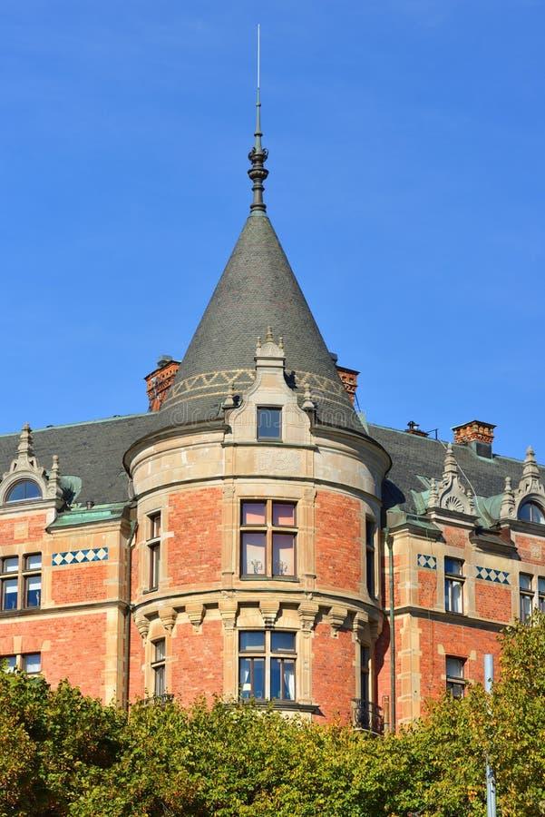 Bunsow-Haus 1886-1888, wird es nach Friedrich Bunsow genannt Strandvagen-Boulevard stockholm lizenzfreie stockfotos