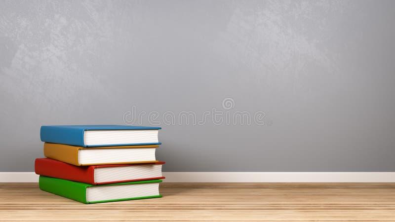 Bunt av böcker i rummet royaltyfri illustrationer