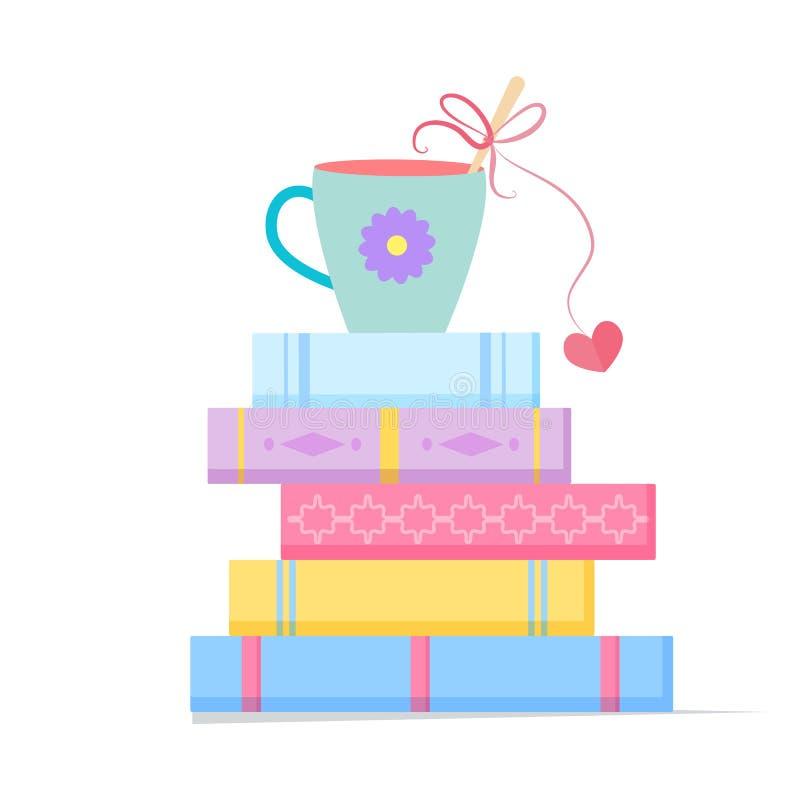 Bunt av böcker med en kopp royaltyfri illustrationer