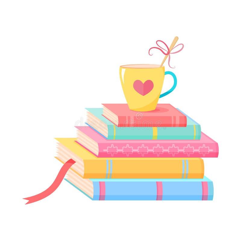 Bunt av böcker med en kopp stock illustrationer
