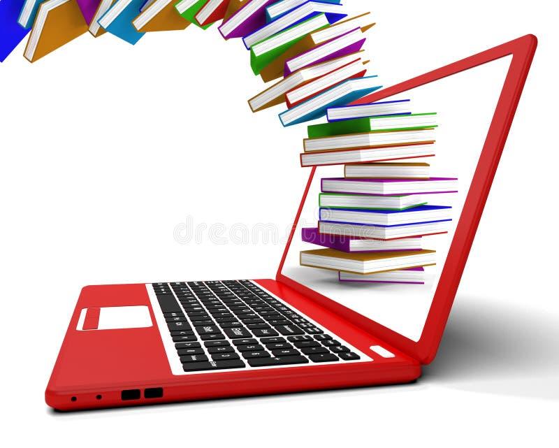 Bunt av böcker som flyger från datoren royaltyfri illustrationer