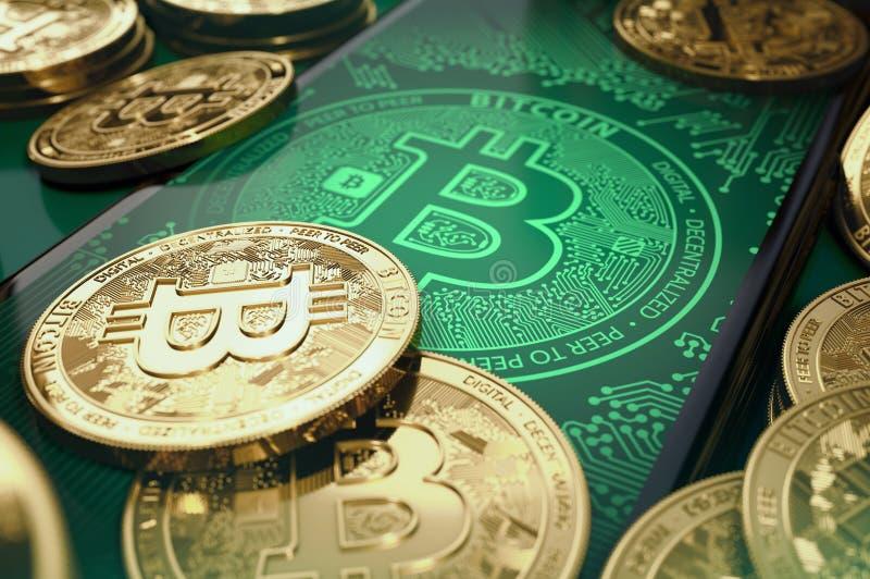 Bunt av bitcoinmynt på smartphoneskärmen Bitcoin faktiskt plånbokbegrepp framförande 3d royaltyfri illustrationer