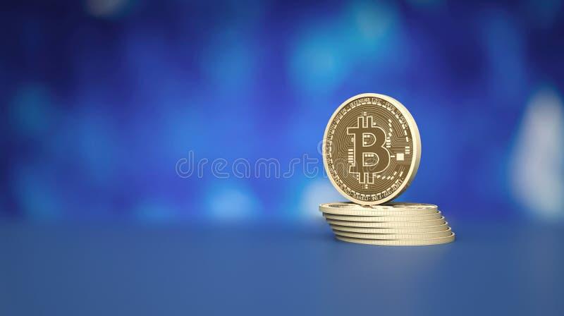 Bunt av bitcoins på blå bakgrund som illustrerar blockchain stock illustrationer