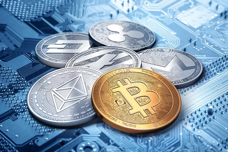 Bunt av cryptocurrencies: bitcoin, ethereum, litecoin, monero, streck och krusningsmynt tillsammans, tolkning 3D royaltyfri illustrationer