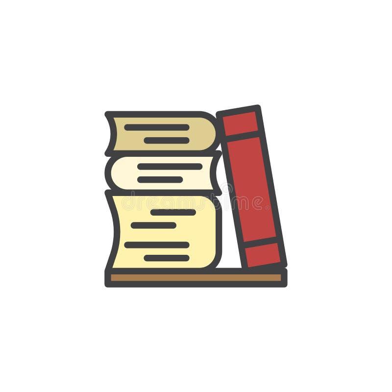 Bunt av den böcker fyllda översiktssymbolen royaltyfri illustrationer
