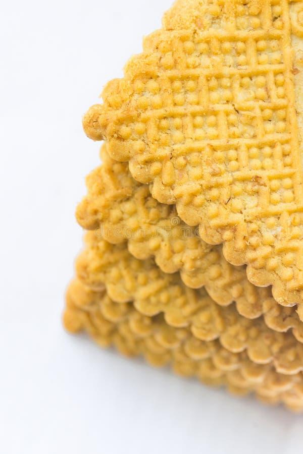 Bunt av den hem bakade Buttery havremjölmördegskakan Sugar Cookies Göt kex Vit bakgrund Stekhett begrepp royaltyfria foton