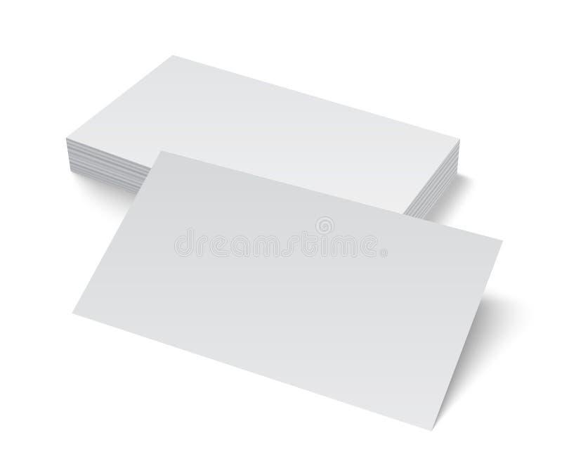 Bunt av det tomma affärskortet på vit bakgrund royaltyfri illustrationer