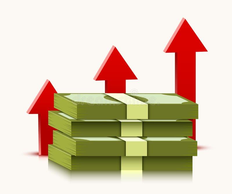 Bunt av dollar med resningpilen som isoleras p? vit bakgrund Pengar och nationalekonomibegrepp stock illustrationer