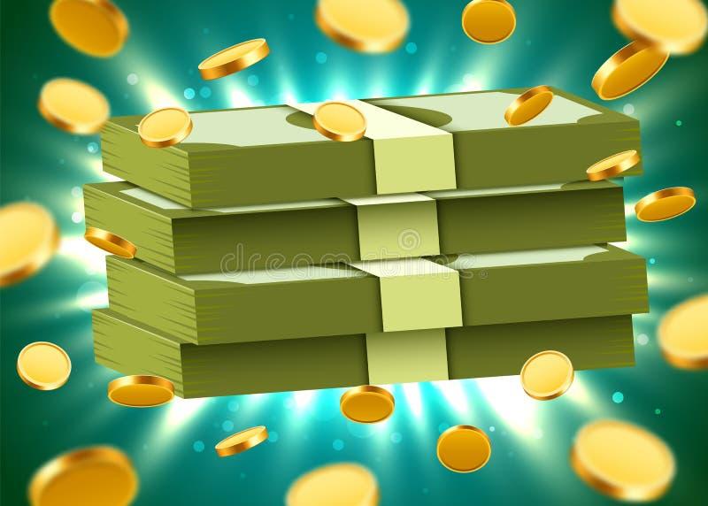 Bunt av dollar på ljus bakgrund med mynt och ljusa strålar Pengar och nationalekonomibegrepp stock illustrationer