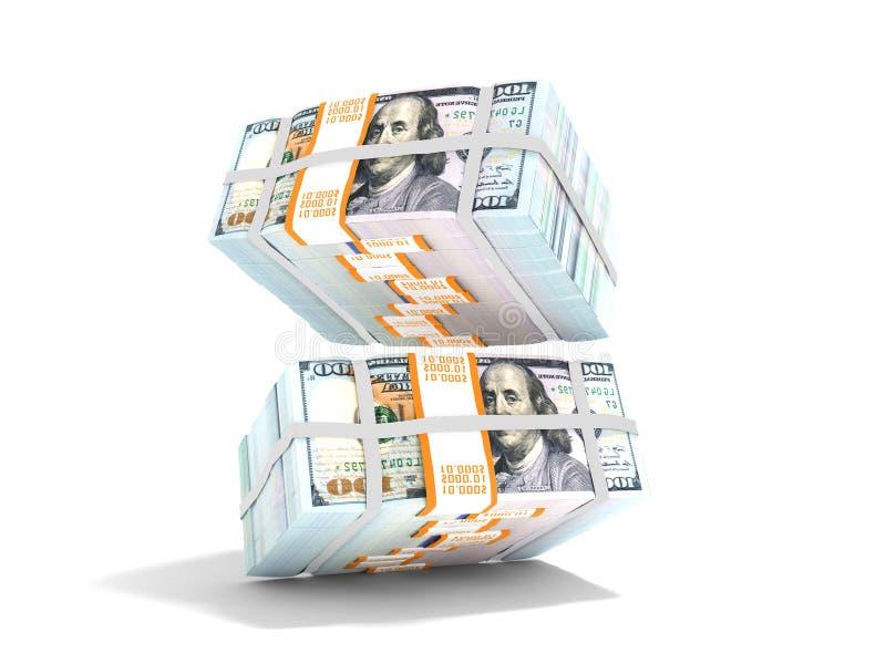 Bunt av dollar som faller från ovanför tolkningen 3d på vit backgr stock illustrationer