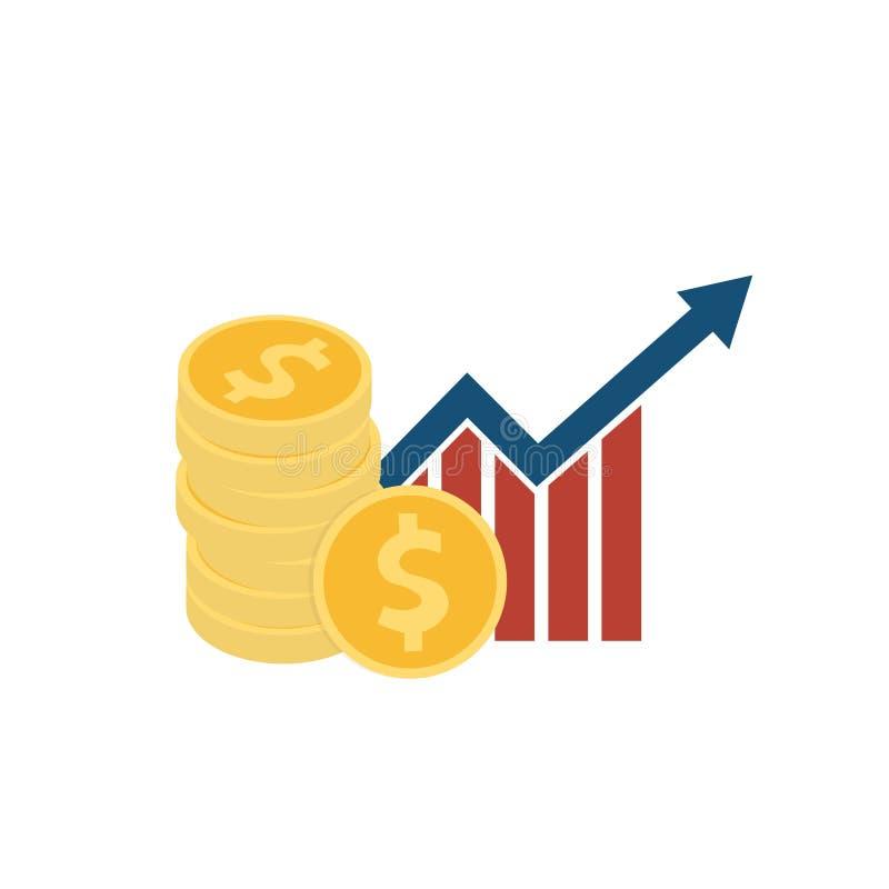 Bunt av dollarmyntet och den växande stånggrafen, förhöjningpil för plan stil för ekonomiska institutioner som isoleras på vit ba stock illustrationer