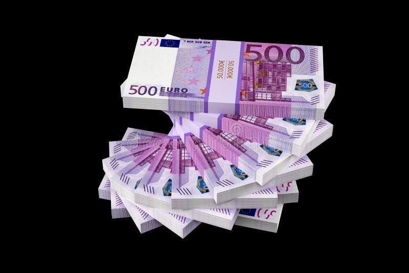 Bunt av 500 eurosedlar arkivbild