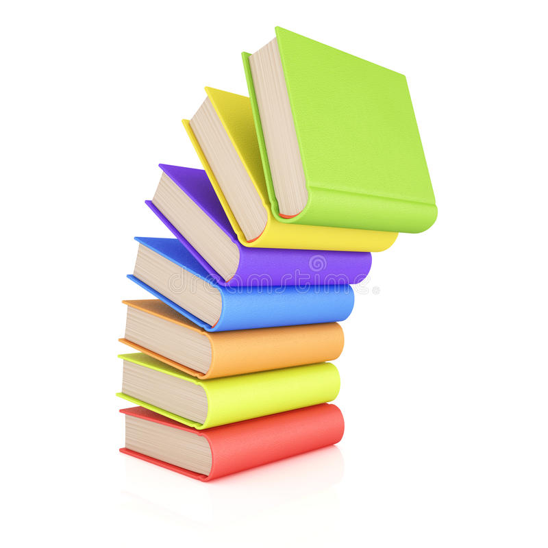 Bunt av färgrika böcker royaltyfri illustrationer