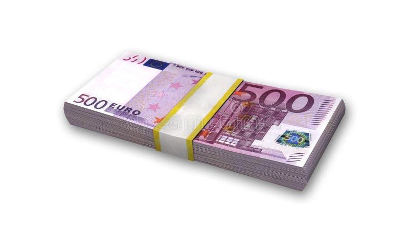 Bunt av femhundra euroräkningar, pengar på vit stock illustrationer
