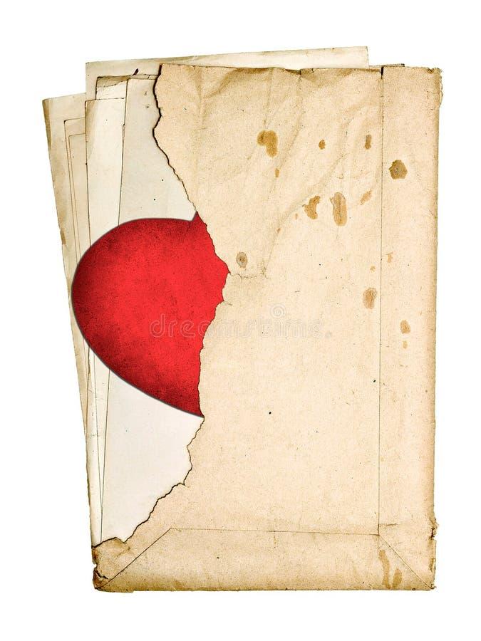 Bunt av gammal legitimationshandlingar i ett sönderrivet kuvert royaltyfri illustrationer