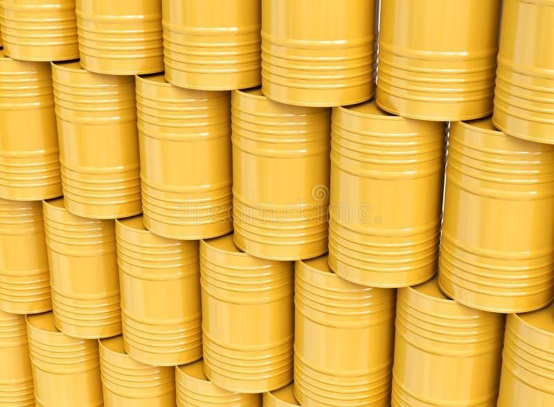 Bunt av gula olje- trummor vektor illustrationer