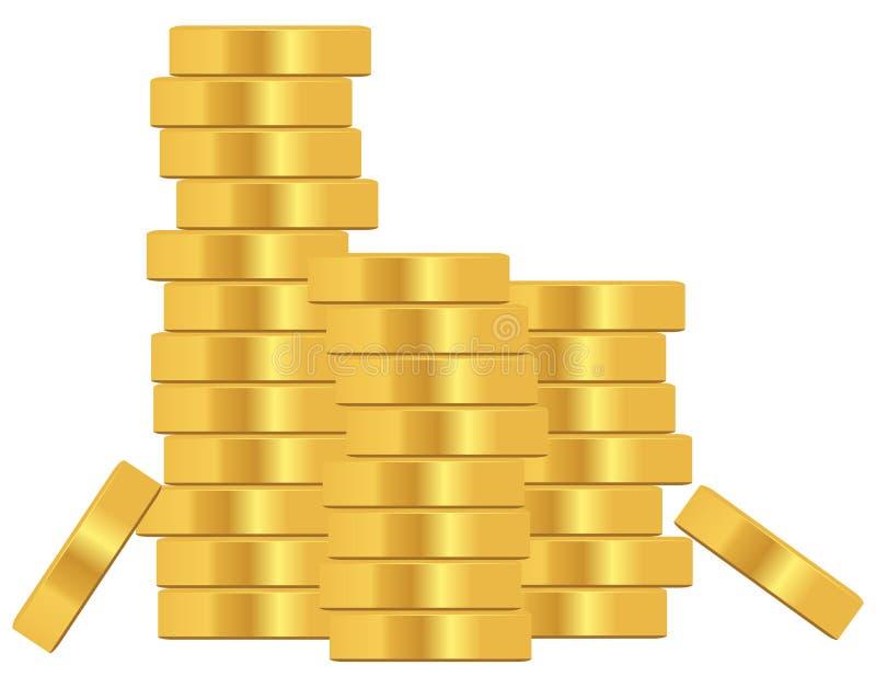 Bunt av guld- mynt royaltyfri illustrationer
