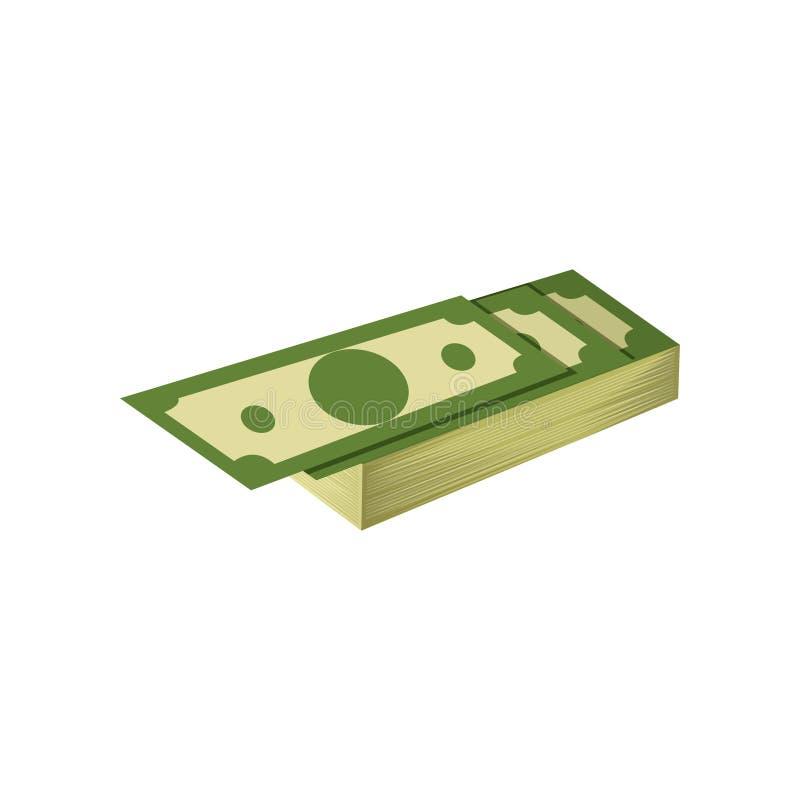 Bunt av hundratals dollar Amerikanska sedlar Bankrörelsevaluta Plan vektorsymbol Beståndsdel för grafisk design för royaltyfri illustrationer