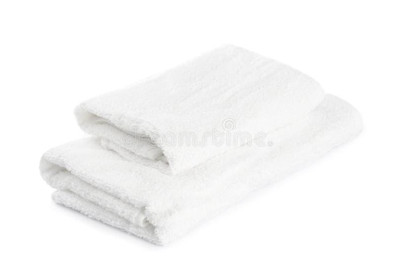 Bunt av isolerade vita handdukar arkivbilder