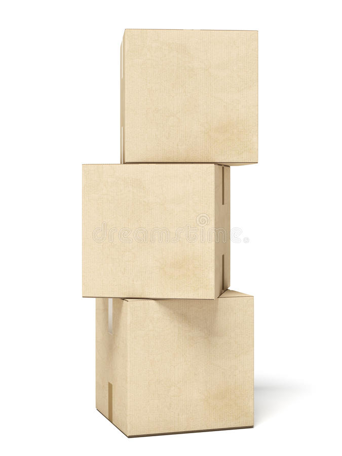 Bunt av kartonger stock illustrationer