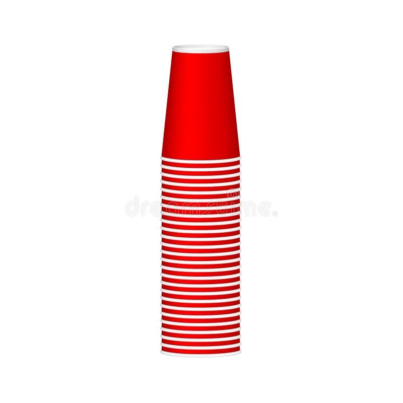 Bunt av koppar i röd design stock illustrationer