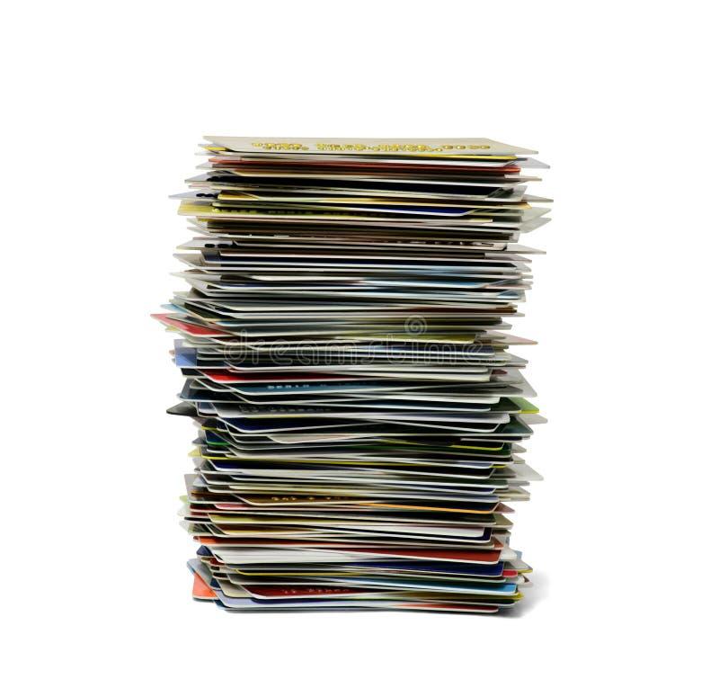 Bunt av krediterings-/debiteringkort som isoleras i vit bakgrund royaltyfri bild