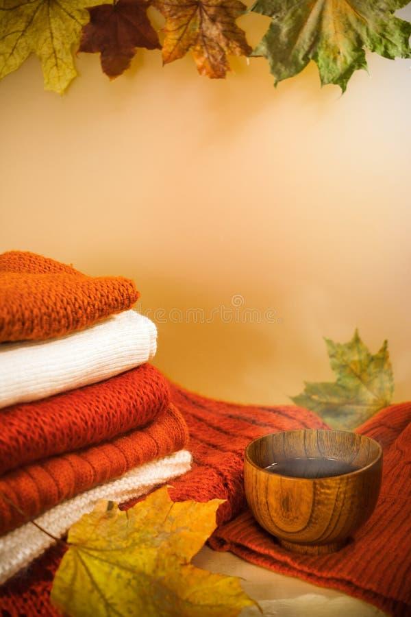 Bunt av ljusa varma stickade plagg, färgrika lönnlöv och träkoppen av varmt te på ljus bakgrund arkivbilder