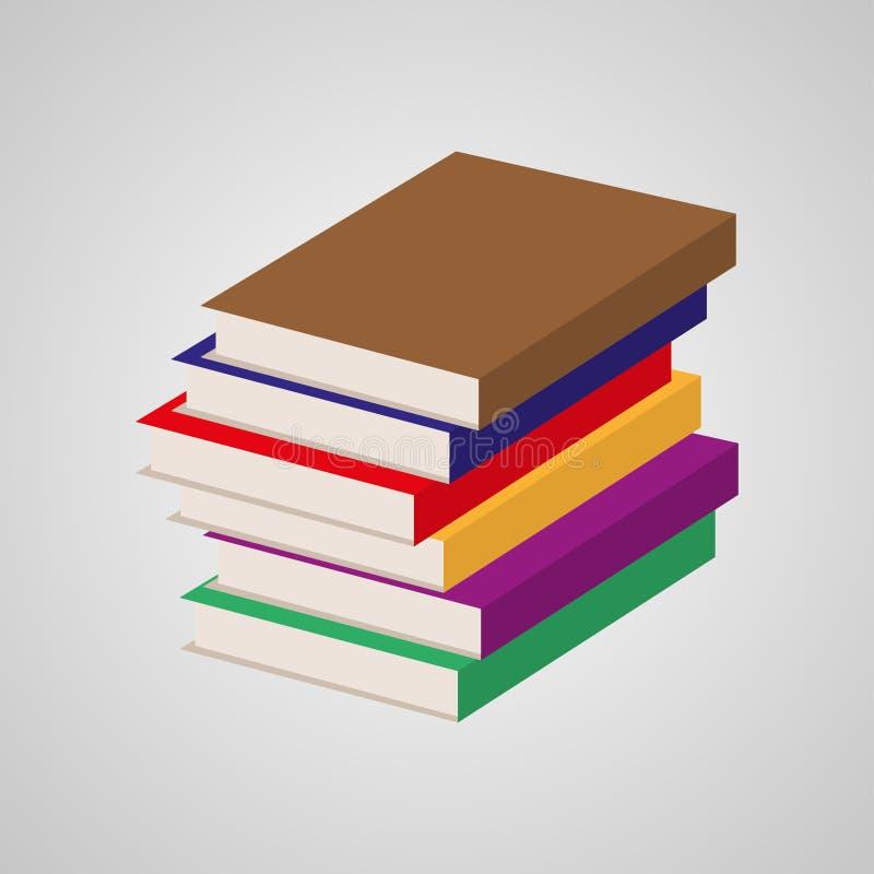Bunt av mång- kulöra böcker också vektor för coreldrawillustration royaltyfri illustrationer