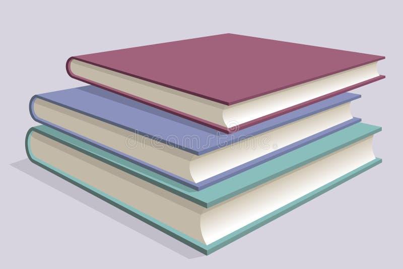 Bunt av mångfärgade böcker Tre läroböcker som staplas på de vektor royaltyfri illustrationer