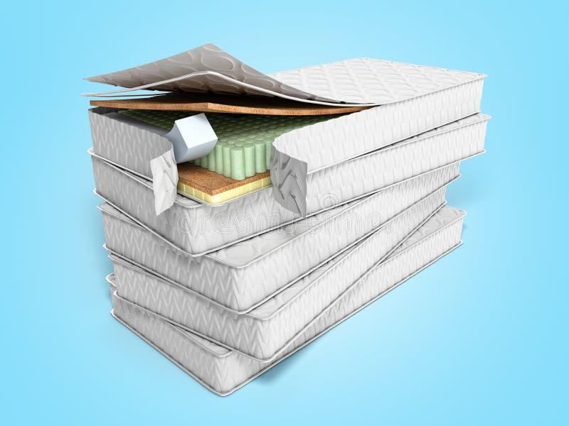 Bunt av madrasser 3d att framf?ra p? bl? bakgrund vektor illustrationer