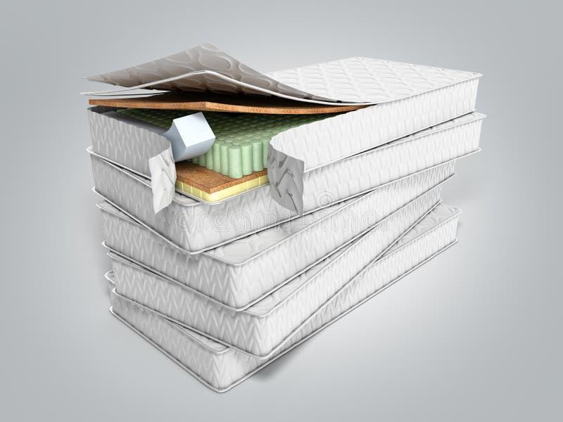 Bunt av madrasser 3d att framföra på grå bakgrund vektor illustrationer