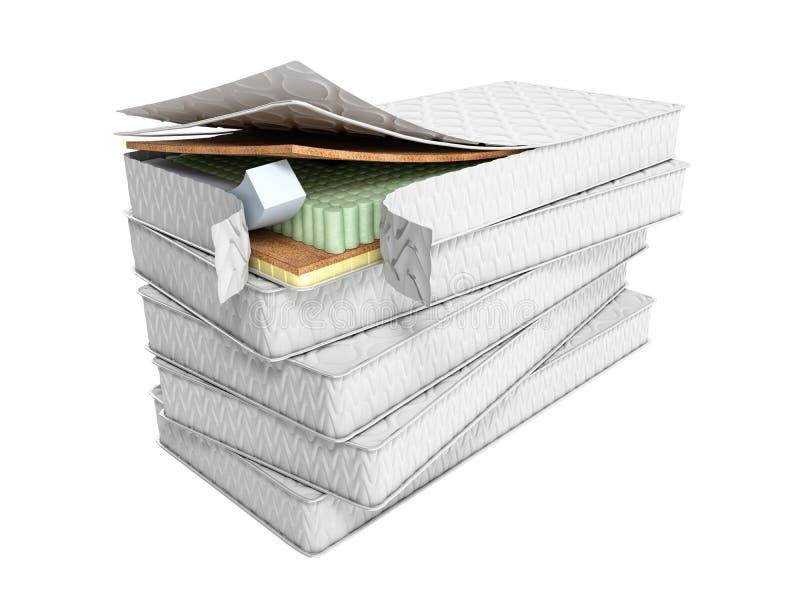 Bunt av madrasser 3d att framföra på vit bakgrund ingen skugga vektor illustrationer
