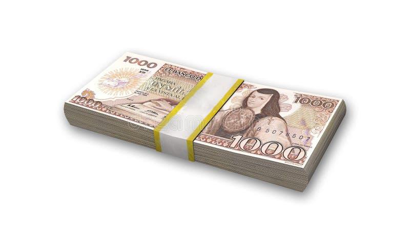 Bunt av mexicansk valuta, 1000 pesosräkningar, pengar på vit royaltyfria foton