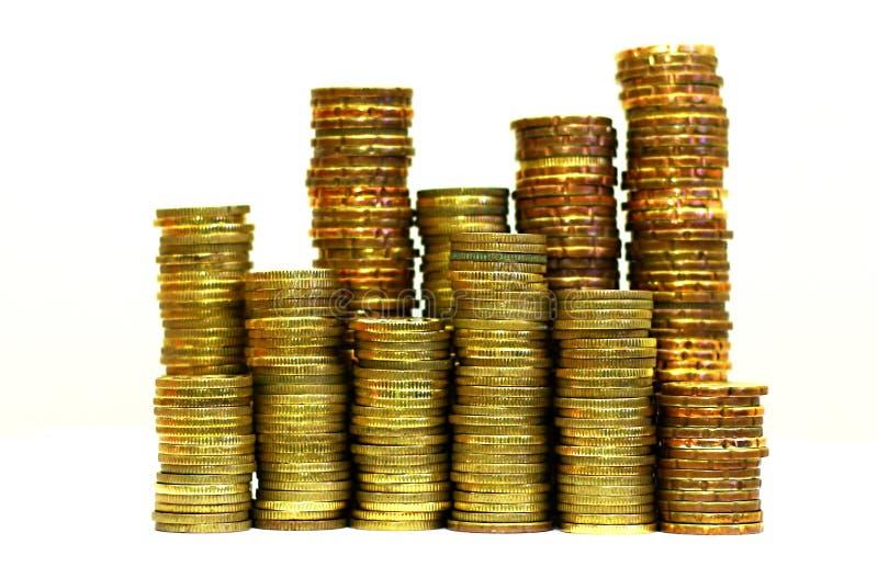 Bunt av mynt i slut upp royaltyfri foto