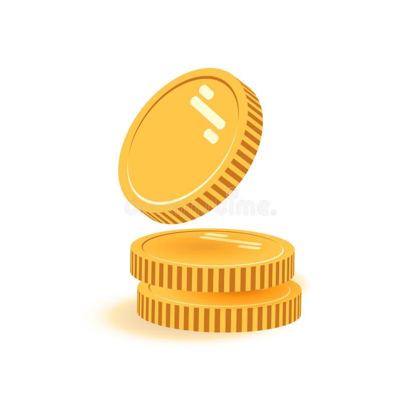 Bunt av mynt med myntet som är främst av det Symbolslägenheten, mynt traver, myntpengar, ett guld- myntanseende på staplad guld stock illustrationer