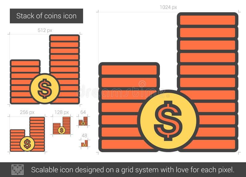 Bunt av myntlinjen symbol vektor illustrationer