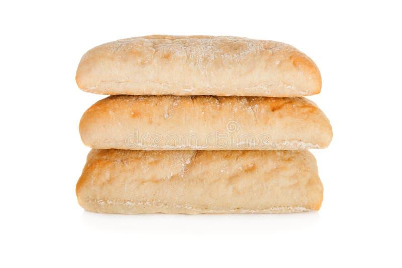 Bunt av panini som tre isoleras på vit bakgrund arkivfoton