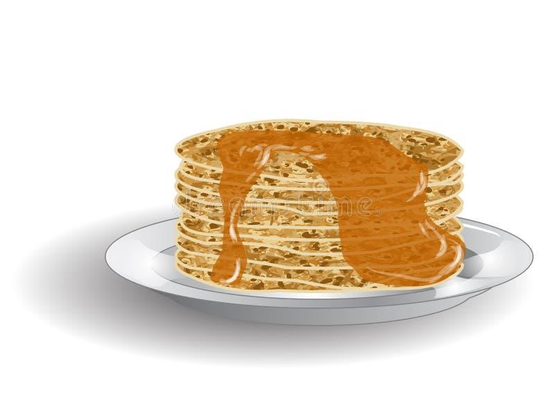 Bunt av pannkakor och sirap vektor illustrationer