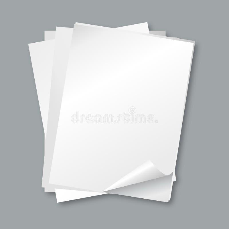 Bunt av papperen tomma vitbokark, bokstavsvektorbakgrund royaltyfri illustrationer