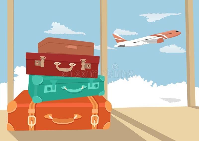 Bunt av resande bagage i flygplatsterminalen och passagerarenivån som flyger över himmel stock illustrationer
