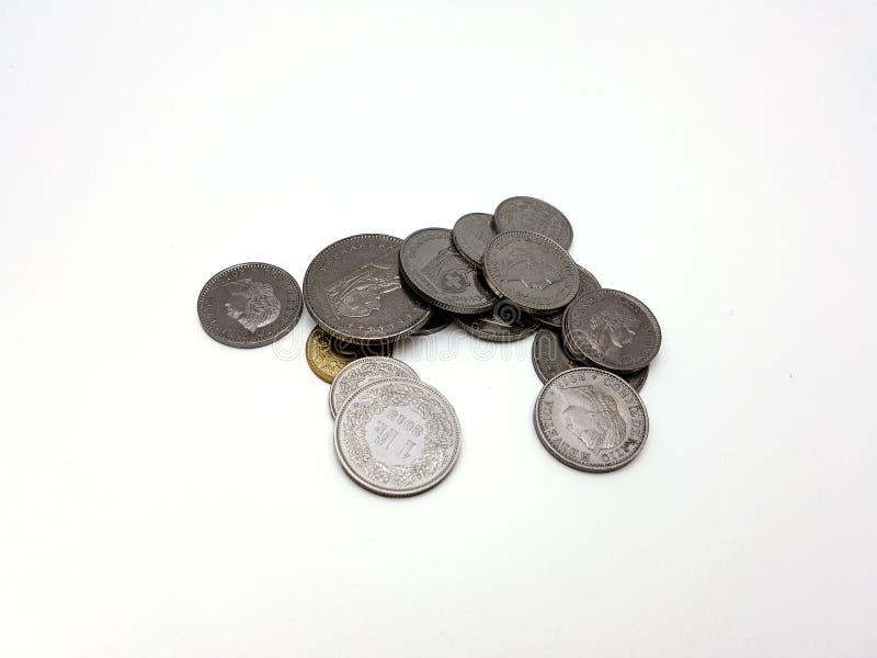 Bunt av schweiziska mynt royaltyfria foton