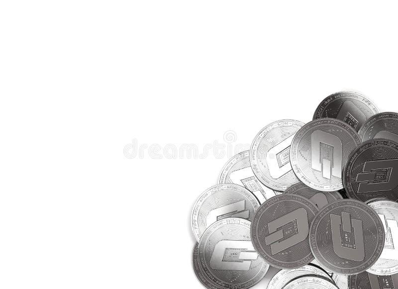 Bunt av silverstreckmynt i deträtt hörnet som isoleras på vit och kopieringsutrymme för din text vektor illustrationer